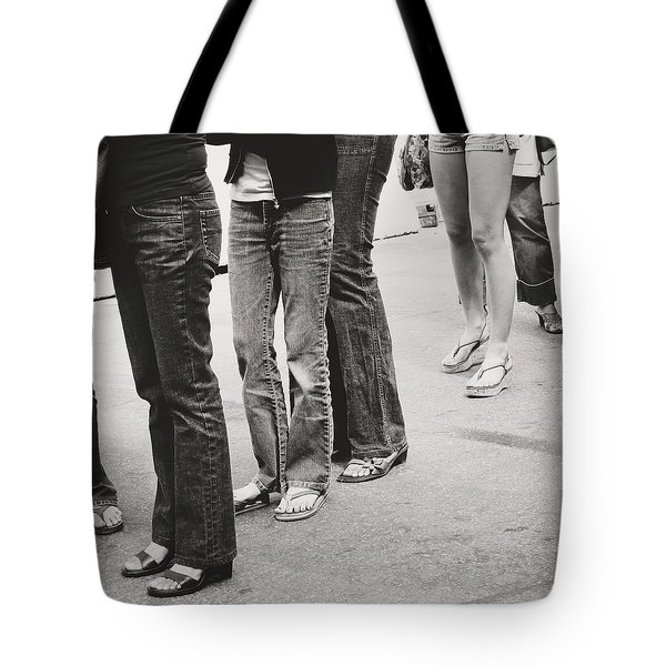 Jeans And Sandals Black And White- Photography By Linda Woods Tote Bag
