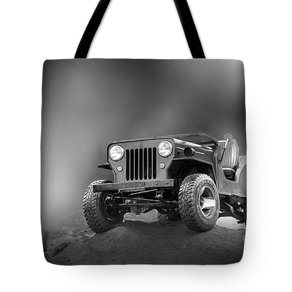 Tote Bag featuring the photograph Jeep Bw by Charuhas Images