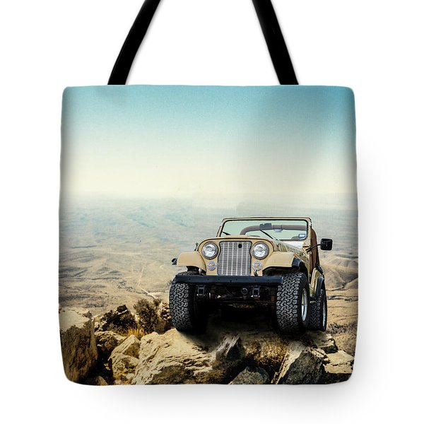 Jeep On A Mountain Tote Bag