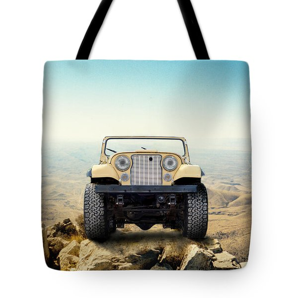 Jeep On Mountain Tote Bag