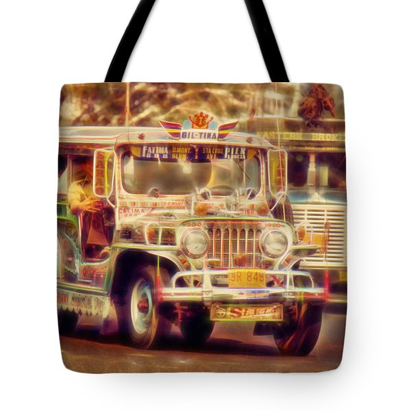 Jeepney Manila Tote Bag by David French
