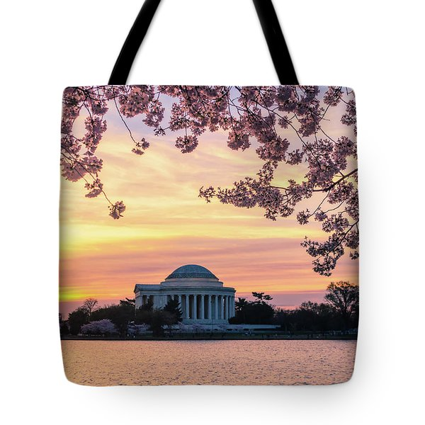 Jefferson Memorial At Sunrise With Blossoms Tote Bag