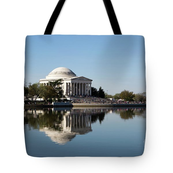 Tote Bag featuring the photograph Jefferson Memorial Cherry Blossom Festival by Steven Frame