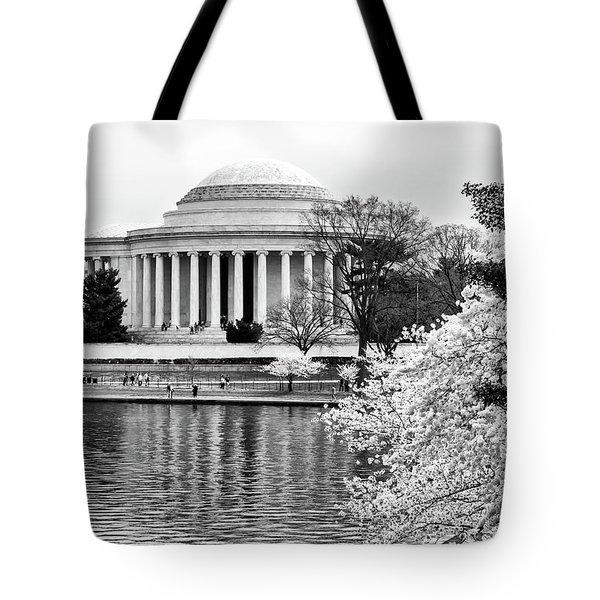 Jefferson Memorial Cherry Blosum Time Tote Bag by Paul Seymour