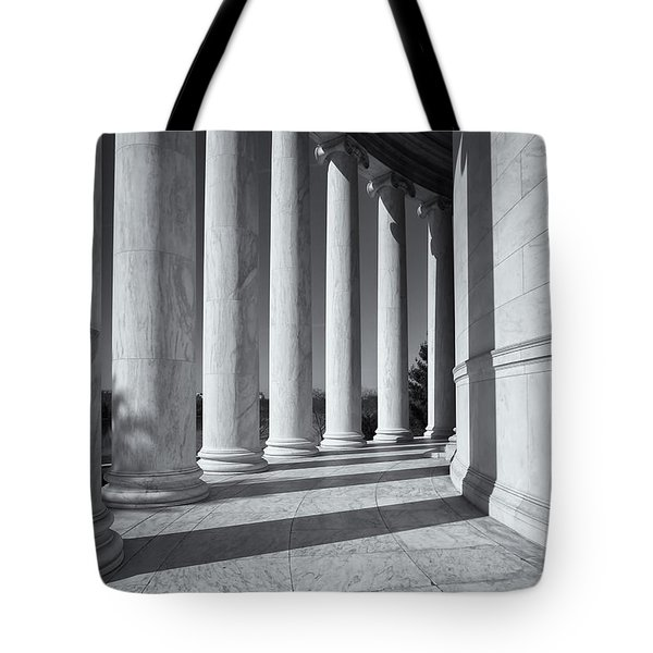 Jefferson Memorial Columns And Shadows Tote Bag by Clarence Holmes