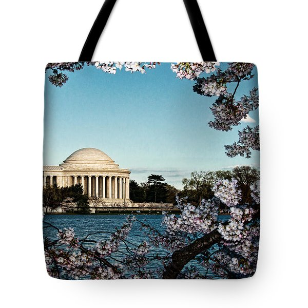 Jefferson Memorial In Spring Tote Bag by Christopher Holmes