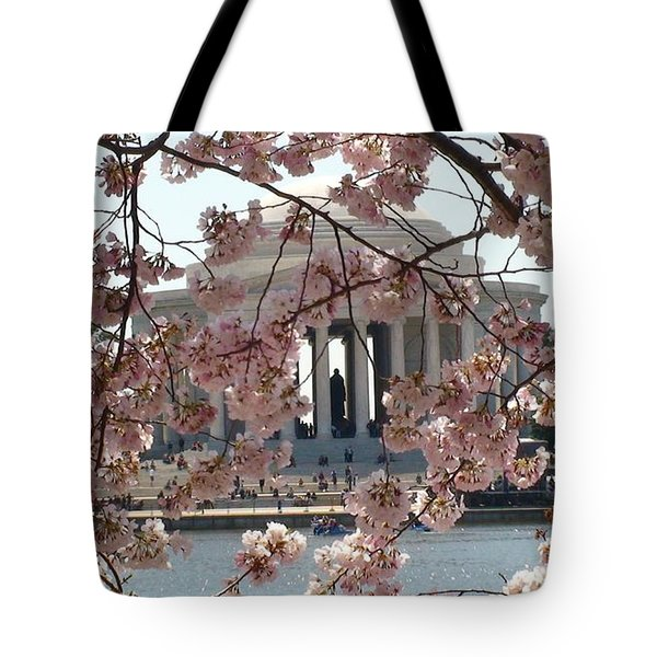 Jefferson Through The Cherry Blossoms Tote Bag