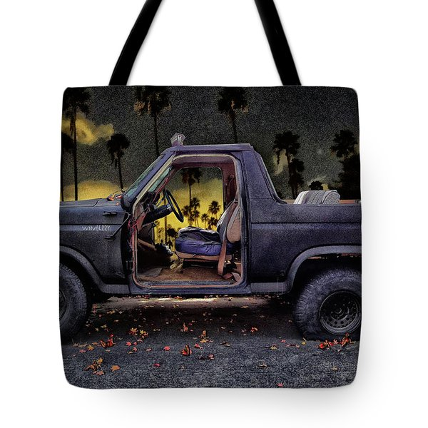 Jeff's Jeep And The Fallen Leaves Tote Bag by Bob Winberry