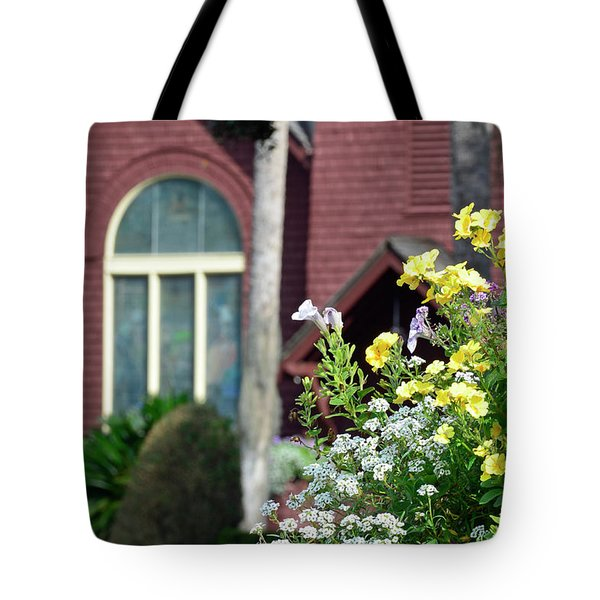 Tote Bag featuring the photograph Jekyll Island Chapel And Flowers by Bruce Gourley
