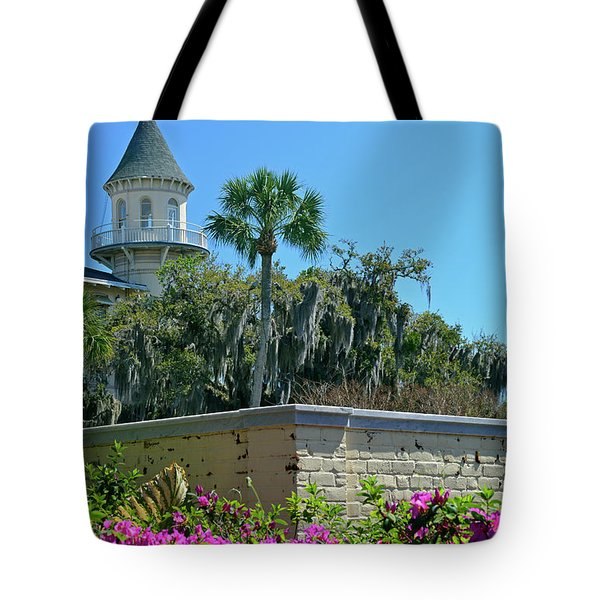 Tote Bag featuring the photograph Jekyll Island Club Hotel And Azaleas by Bruce Gourley