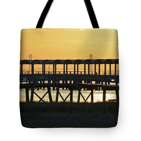 Jekyll Island Pier At Sunset Tote Bag by Bruce Gourley