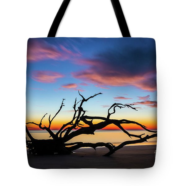 Jekyll Island Sunrise On Driftwood Beach Tote Bag