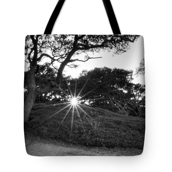 Jekyll Sunset In Black And White Tote Bag