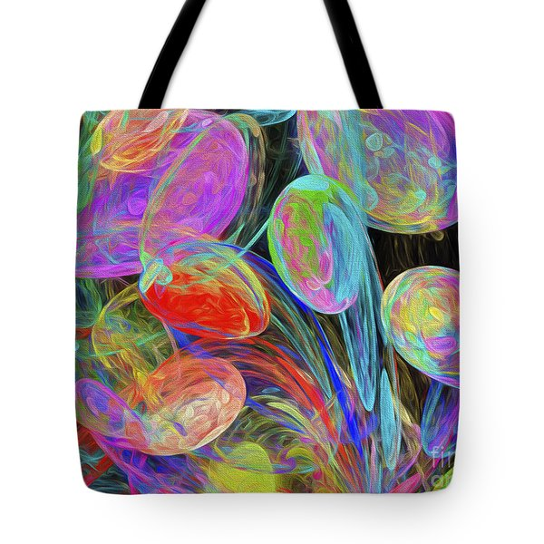 Tote Bag featuring the digital art Jelly Beans And Balloons Abstract by Andee Design