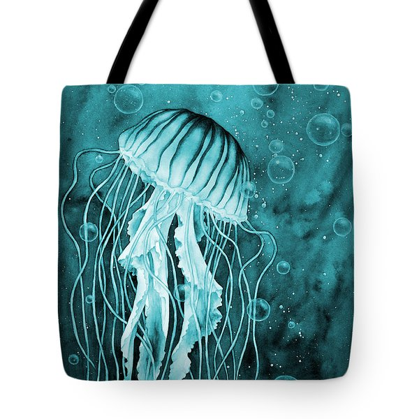 Jellyfish On Blue Tote Bag