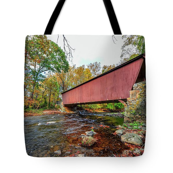 Jericho Covered Bridge In Maryland During Autumn Tote Bag