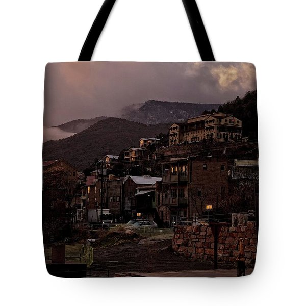 Tote Bag featuring the photograph Jerome On The Edge Of Sunrise by Ron Chilston