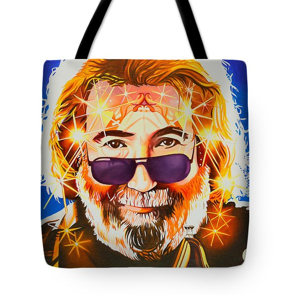 Tote Bag featuring the painting Jerry Garcia-dark Star by Joshua Morton