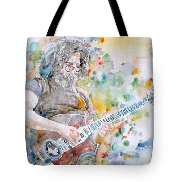 Jerry Garcia - Watercolor Portrait.15 Tote Bag