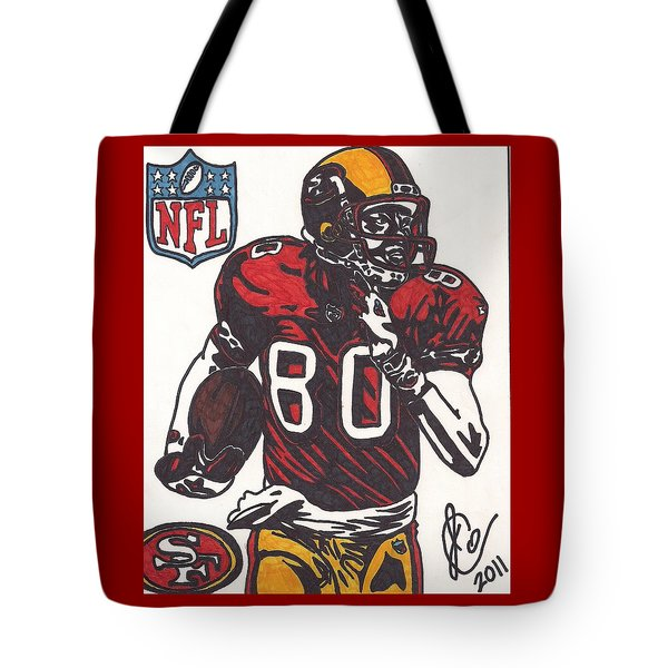 Tote Bag featuring the drawing Jerry Rice by Jeremiah Colley