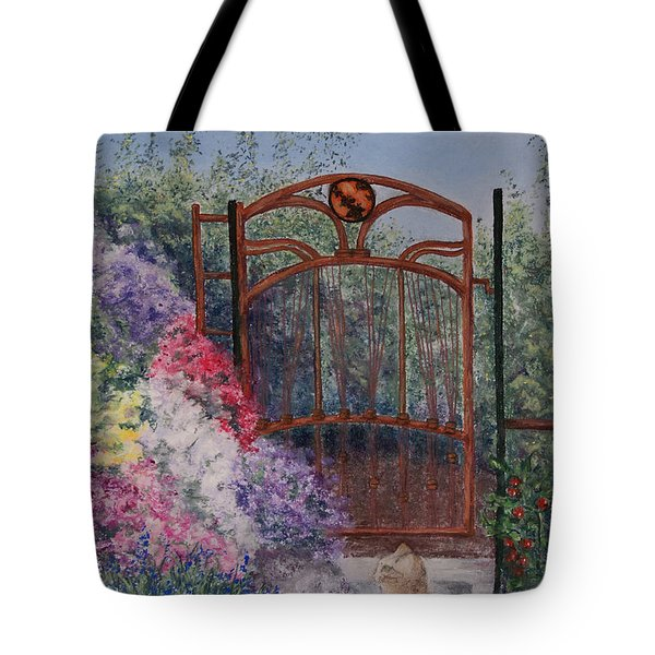 Tote Bag featuring the painting Jerrys Garden by Stanza Widen