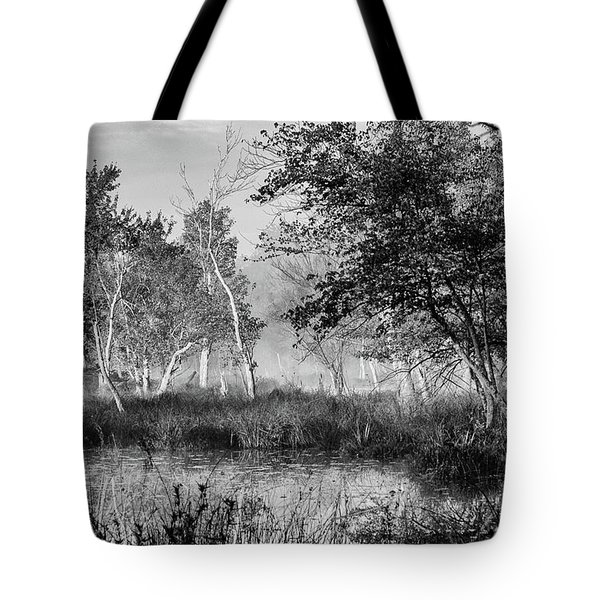 Tote Bag featuring the photograph Jersey Pine Lands In Black - White by Louis Dallara
