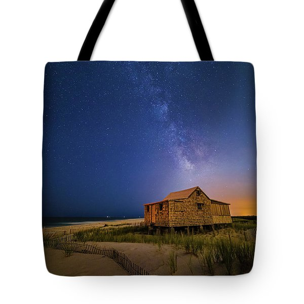 Tote Bag featuring the photograph Jersey Shore Setting Moon  And Milky Way by Susan Candelario