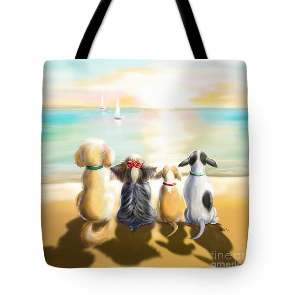 Tote Bag featuring the painting Jersey Shore Sunrise  by Catia Lee