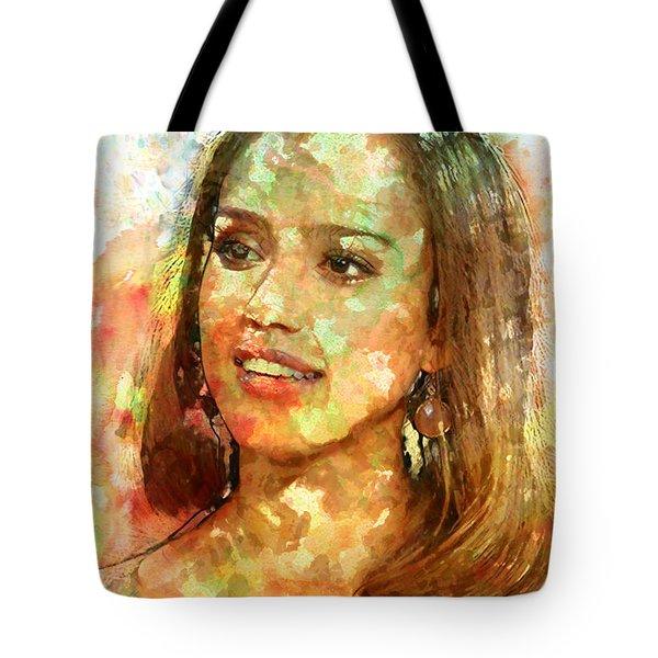Jessica Alba Tote Bag by Elena Kosvincheva