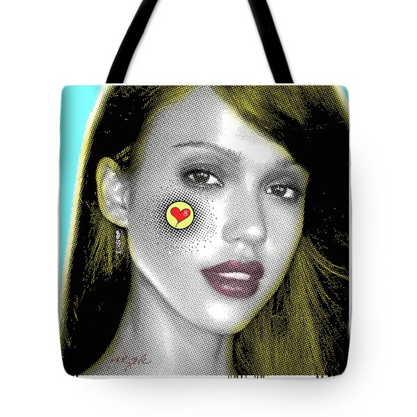 Jessica Alba Pop Art, Portrait, Contemporary Art On Canvas, Famous Celebrities Tote Bag by Dr Eight Love