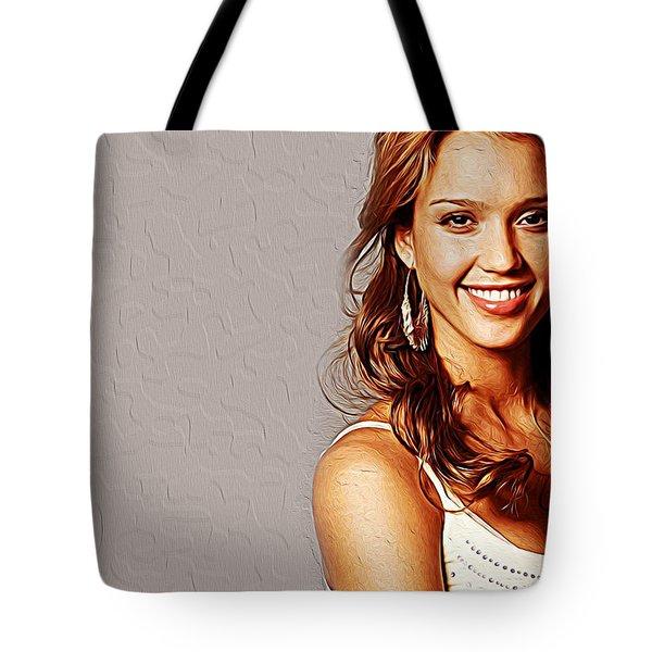 Jessica Alba Tote Bag by Iguanna Espinosa