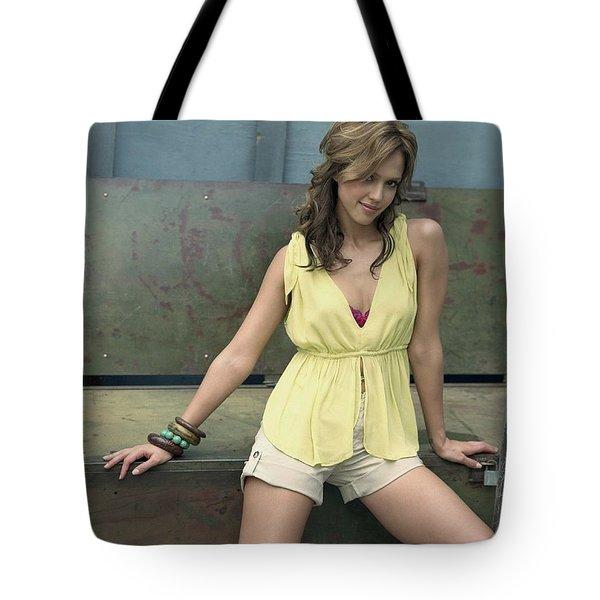 Jessica Alba Yellow Dress Tote Bag