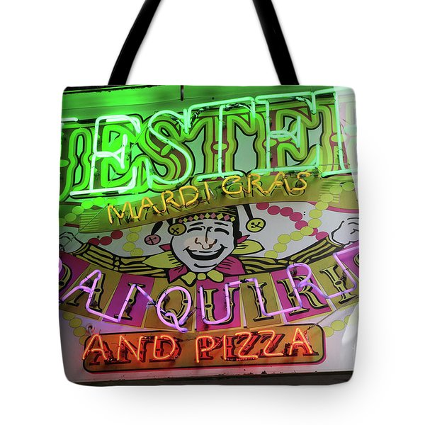 Tote Bag featuring the photograph Jester Mardi Gras Sign by Steven Spak