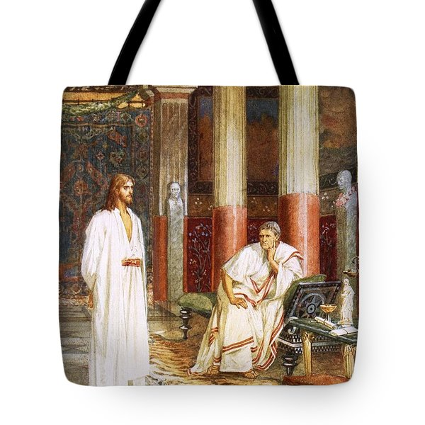 Jesus Being Interviewed Privately Tote Bag by William Brassey Hole