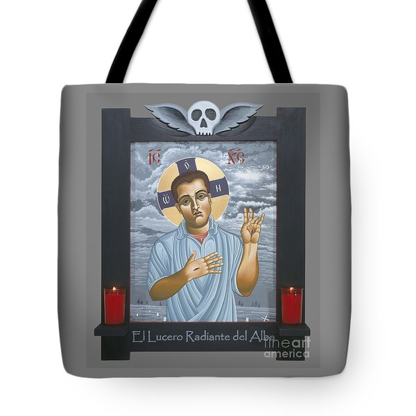 Tote Bag featuring the painting Jesus Christ Morning Star With Frame 108 by William Hart McNichols