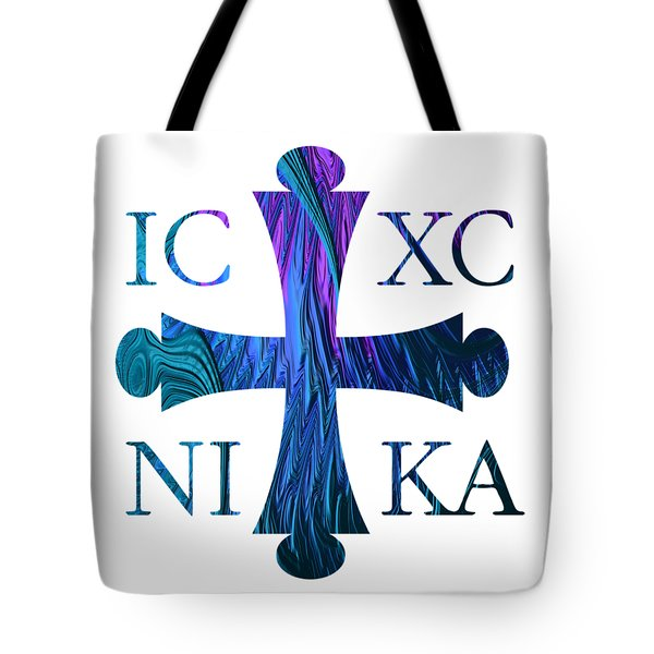 Jesus Christ Victor Cross With Sunrise Reflection Fractal Abstract Tote Bag