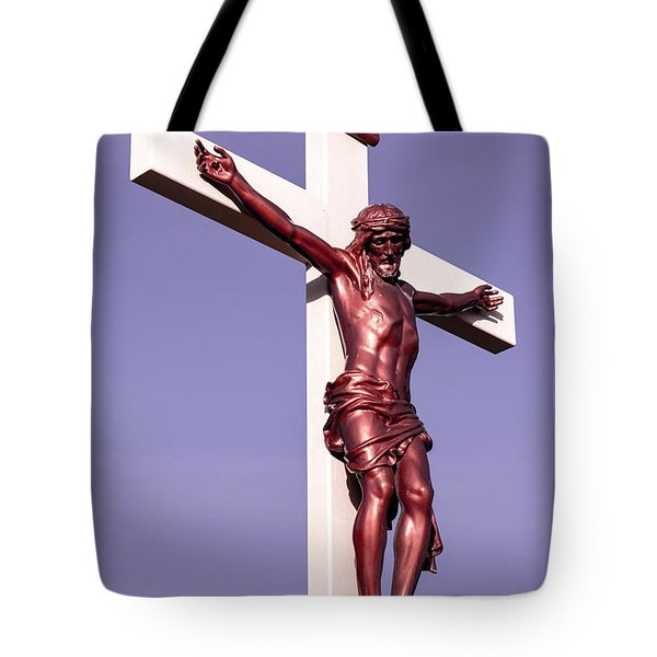 Jesus Crucifix Against The Sky 2 Tote Bag by Gary Whitton