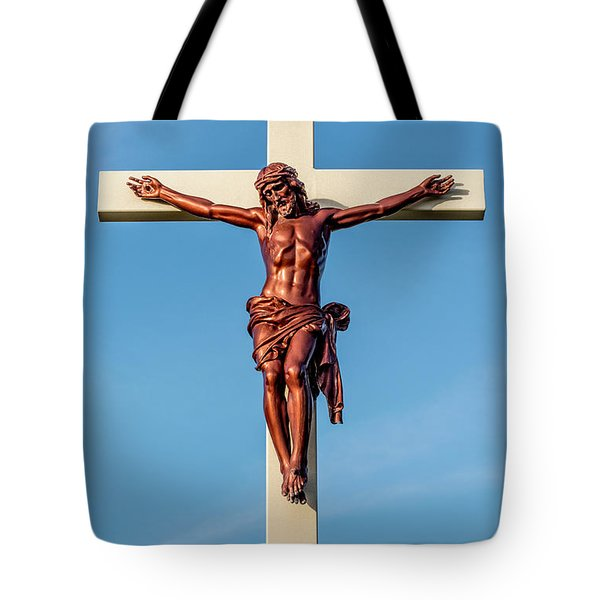 Jesus Crucifix Against The Sky 3 Tote Bag by Gary Whitton