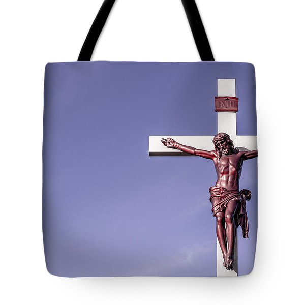 Jesus Crucifix Against The Sky Tote Bag by Gary Whitton
