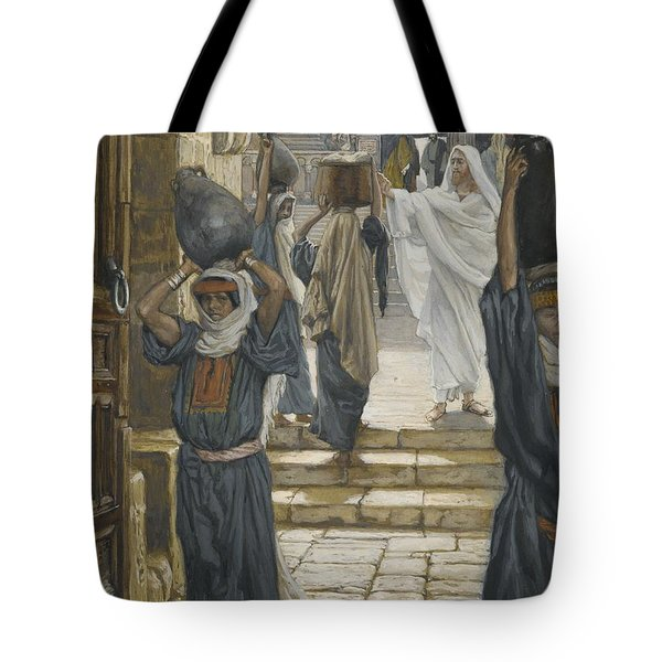 Jesus Forbids The Carrying Of Loads In The Forecourt Of The Temple Tote Bag by Tissot