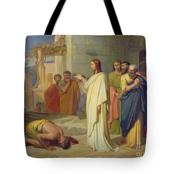 Jesus Healing The Leper Tote Bag by Jean Marie Melchior Doze