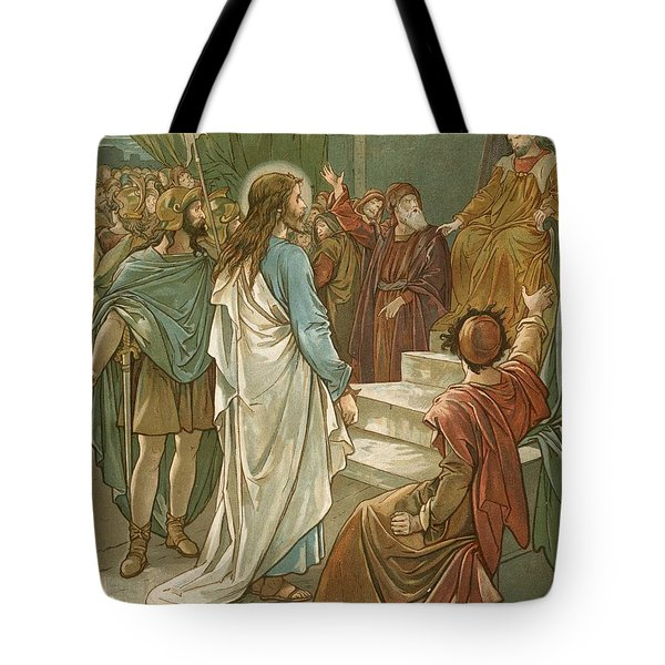 Jesus In Front Of Pilate Tote Bag by John Lawson