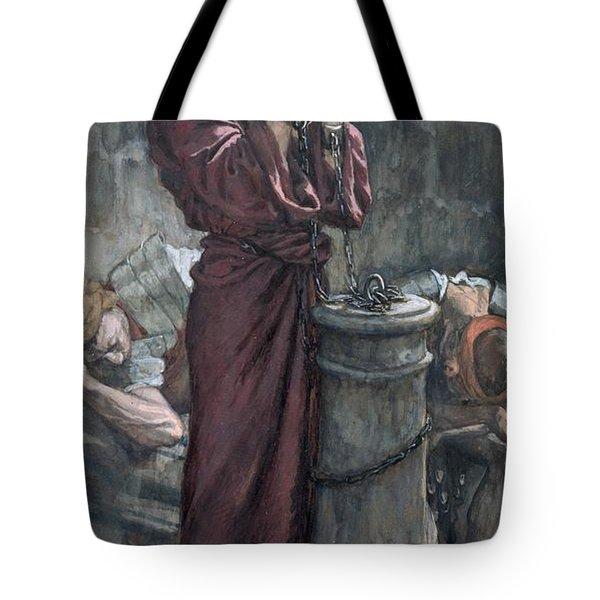 Jesus In Prison Tote Bag by Tissot