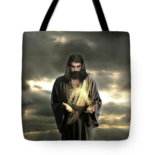 Jesus In The Clouds With Radiant Power Tote Bag