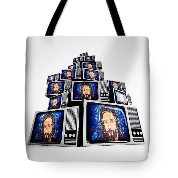 Jesus On Tv Tote Bag