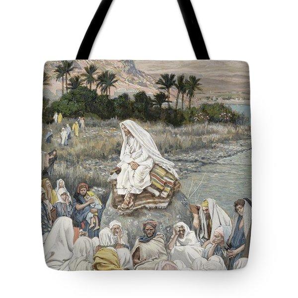 Jesus Preaching By The Seashore Tote Bag by Tissot