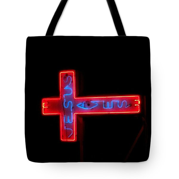 Jesus Saves At Night Tote Bag