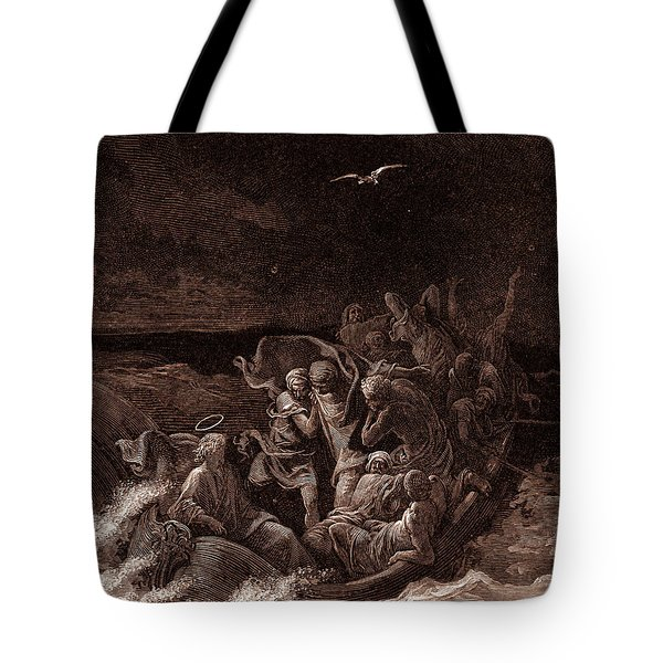 Jesus Stilling The Tempest Tote Bag by Gustave Dore