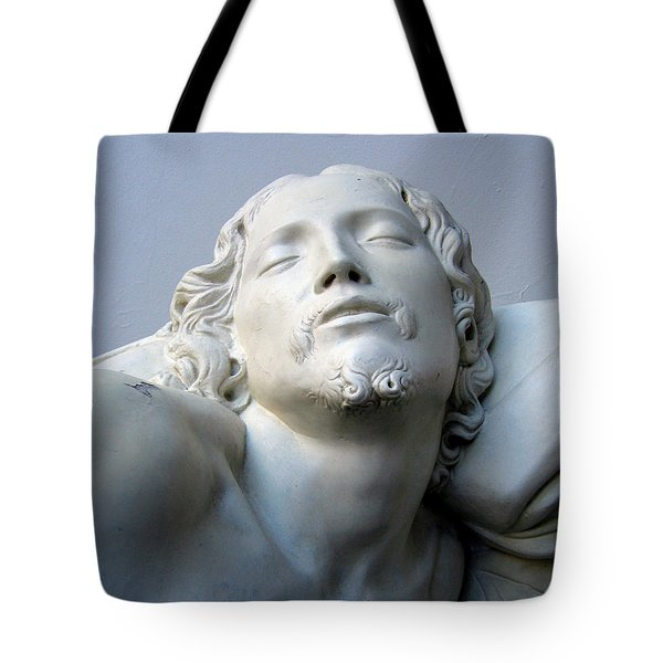 Tote Bag featuring the sculpture Jesus by Suhas Tavkar
