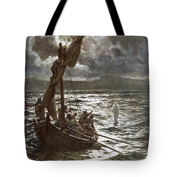 Jesus Walking Upon The Sea Tote Bag by William Brassey Hole